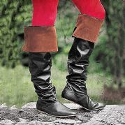 Black Knee High Boots With Cuff